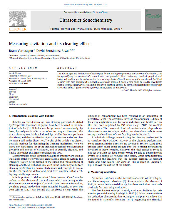 ULTSON article Measuring cavitation and its cleaning effect