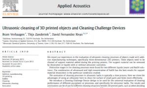 Artikel over 'Cleaning in 3D printing' in Applied Acoustics