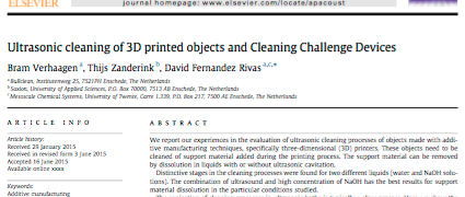 Article on 'Cleaning for 3D printing' in Applied Acoustics